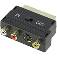Switched Scart to Composite 3 x RCA and S-video Socket Adapter GOLD
