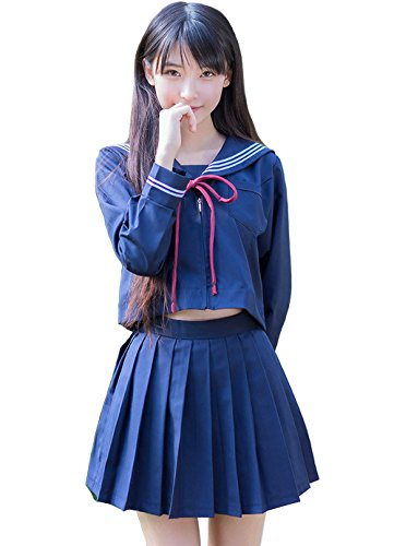 Anime Top Kostüme Girl (Olanstar Women's Japanese Schoolgirl Cosplay Sailor Suit Costume Set Anime JK Uniform Navy)