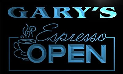 x0026-tm Gary's Espresso Coffee OPEN Custom Personalized Name Neon Sign by ADV PRO