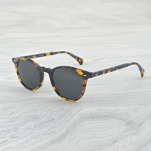 LKVNHP Nuovi Occhiali da Sole Vintage di Alta qualità di Moda Occhiali da Sole di Marca Occhiali da Sole Polarizzati Maschio Femmina Ovale Occhiali da Sole Rotondi UominiVs Grigio