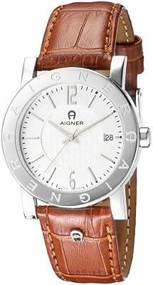 Aigner Cortina A26113 - Reloj analógico de caballero de cuarzo con correa de piel marrón - sumergible a 30 metros