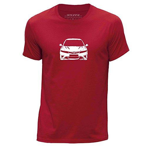 Stuff4® Herren/X groß (XL)/Rot/Rundhals T-Shirt/Schablone Auto-Kunst/Civic FN2