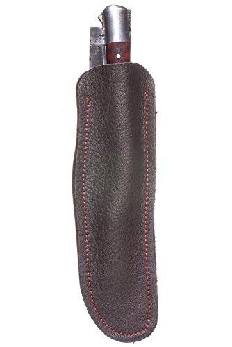Preisvergleich Produktbild Lederetui Messeretui aus echtem Kalbsleder für Laguiole Messer 12cm mit Sammlern und lokalen Sattlern entwickelt (Dunkelbraun mit roter Naht)