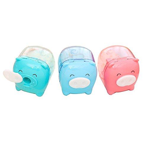 Hosaire 1x Akkus Anspitzer Sticker Maschine 2 Loch-Süßer Motiv-Schweine und kawaii lächelndes Gesicht Schulartikel Schreibwaren,Farbe zufällige