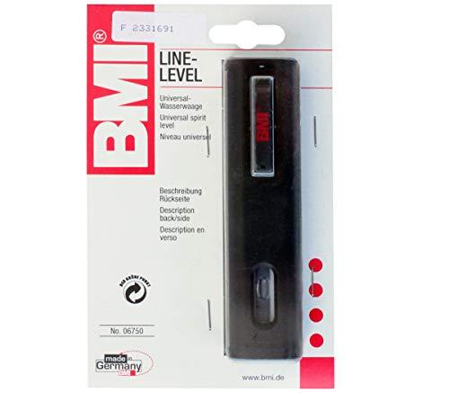 BMI 06750 Line-Level Universal Wasserwaage mit Schnurhaken, Clip und zwei Plexiglas-Libellen, schwarz, 120 x 29 x 17 mm