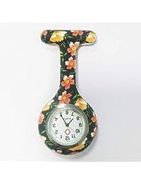 HSDDA Patrón de impresión en Color Enfermera Reloj Enfermera Unisex Colgando Reloj Enfermeras Gel de sílice Reloj Fob Relojes médicos de Cuarzo (Colorido)