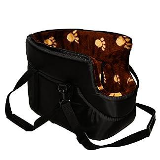 BLACK with BROWN FUR CARRY BAG SHOULDER TRAVEL CARRIER DOG PUPPY CAT PET ANIMAL 4111sjTtD9L