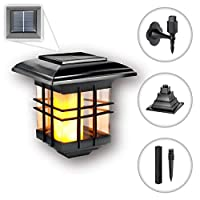Solar Light Outdoor | Solar Flickering Flame Lantern | LED Solar Wall Light Wireless Lighting Lamp | Waterproof Wall Mounted Night Lights for Garden Pathways Yard Patio