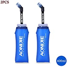 Docooler Plegable Botella de Agua Libre de BPA Suave Running Soft Flask Botella de Hidratación con Paja 600ML(2PC)