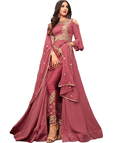 FKART Rosewood Color Latest Designer Party Wear, Traditional Anarkali Salwar Suit/ Long...
