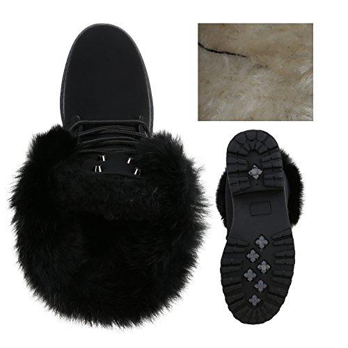 Stiefelparadies Warm Gefütterte Damen Stiefeletten Fell Worker Boots Outdoor Schuhe Flandell Schwarz