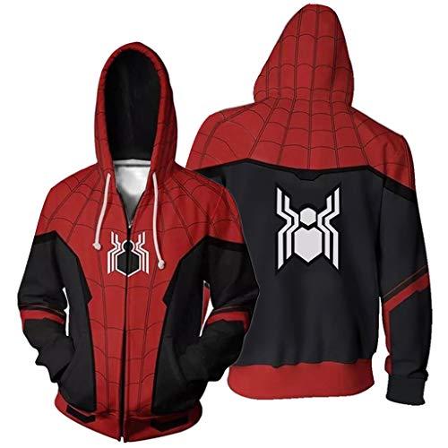 K-Flame Erwachsener Reißverschluss Hoodie 3D gedruckt Hoody Herren Pullover Sweatshirt mit Tasche Oberbekleidung Jacke Halloween Cosplay Kostüm für Spider-Man,Expedition,XXL