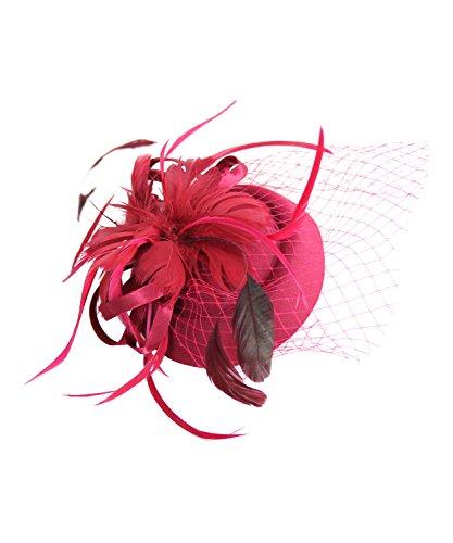 SugarShock Headpiece Fascinator Damen Pillbox Mini Hut, Farbe:burgund, Größe:onesize