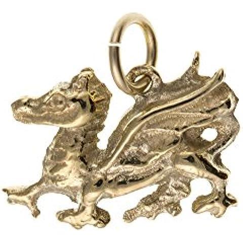 Oro de 9ct sólido Encanto De Dragón De Gales