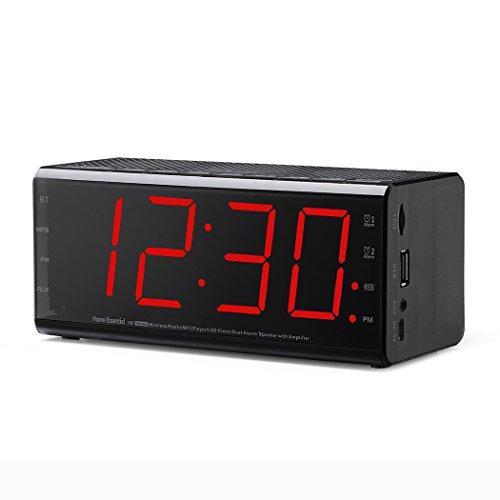 Plumeet Wecker Radio & Bluetooth Lautsprecher mit Dual-Alarm und Snooze-Funktion, größeres LED Digital FM Radio mit MP3 Player und USB Port für Telefon-Ladegerät, DC betrieben und Batterie Backup, 12 Stunden (Beste Iphone Radiowecker)