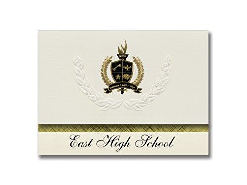 Signature Announcements East High School (Denver, CO) Schulabschlussankündigungen, Präsidential-Stil, Grundpaket mit 25 goldfarbenen und schwarzen metallischen Folienversiegelungen