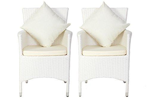 OUTFLEXX 2er-Set Sessel aus hochwertigem Polyrattan in weiß ca. 60 x 60,5 x 86,5 cm, inkl. weichen Polster und Kissen, Gartenstühle in modernem Design, zeitlos, vielseitig kombinierbar, wetterfest