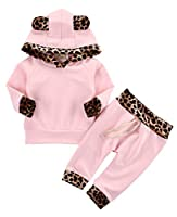 Baby Girl 2pcs Set Outfit Leopard Hooded with Pocket Top+Hooded Long Pants Suit Set