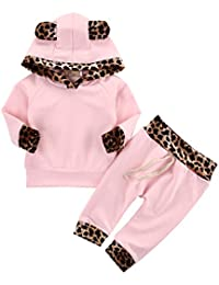 Neugeborenes Baby Mädchen Warm Hoodie T-Shirt Top + Hose Outfits Set Kleidung Set