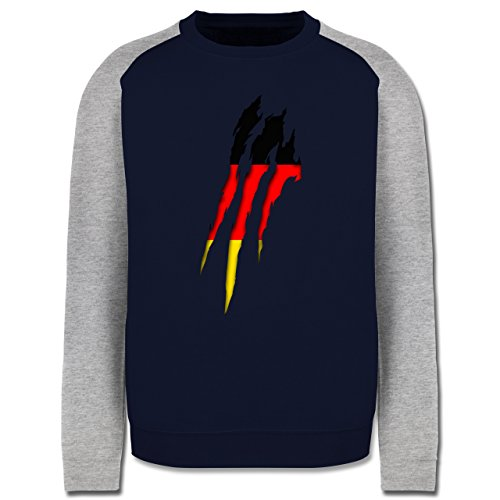 Länder - Deutschland Krallenspuren - Herren Baseball Pullover Navy Blau/Grau Meliert