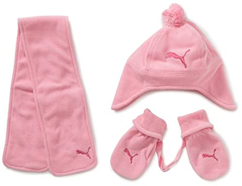 Puma Minicats Babies' Hat Scarf and Gloves Set prism pink--rasperry