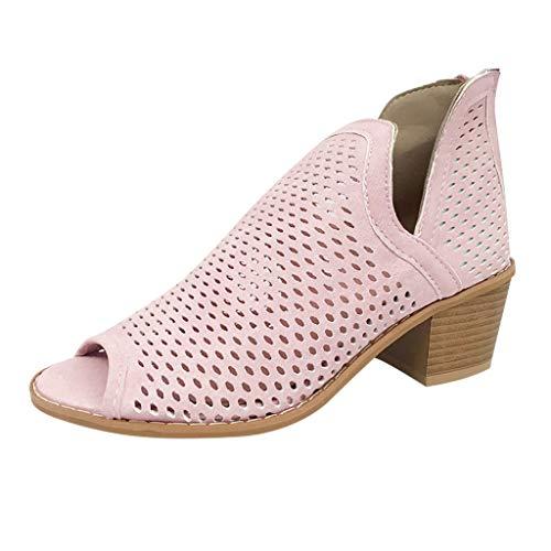 YEARNLY 2019 New Peep-Toe-Schuhe der Retro Frauen niedrige Ferse hohlen Knöchel-starke Fersen-römische Schuhe Stiefeletten Stiefeletten Peeptoes Damen-Stiefel Sandalen Grau, Braun, Pink 35-43