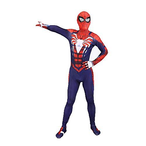 Ghuajie5hao Männer Spiderman Cosplay Kostüme Spider-Men Fancy Set Overall 3D gedruckt Strumpfhosen Superheld Overall Comics Halloween Kostüm - Spider Mann Kostüm Blau