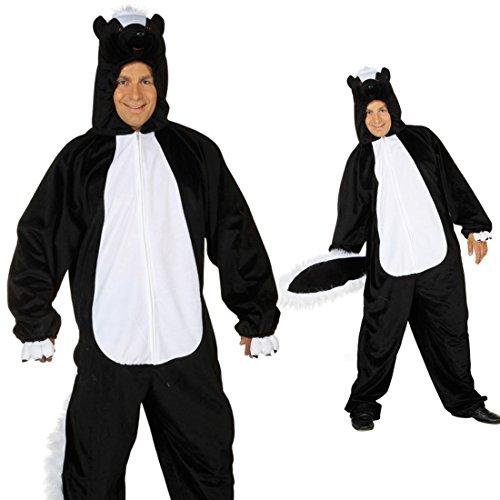 Stinktier Kostüm Skunk Overall 1,75-1,90m Marder Ganzkörperkostüm Ganzkörperanzug (Kostüm Skunk)