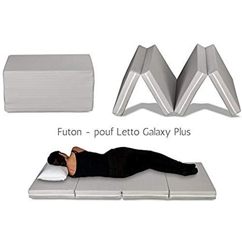 EvergreenWeb - Futon Bett, Matratze, platzsparend, klappbar in 4 Stück und umwandelbar in praktische Sitzsack, Futon Notebook, und geeignet für Massage Shiatsu. Matratze Single H 10 cm, grau