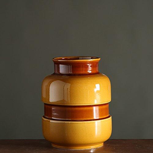 Vase de Fleur de Simulation en Céramique à la Maison Classique de Ceinture en Céramique glaçure Jaune ZHAOJING (Couleur : A, Taille : C)