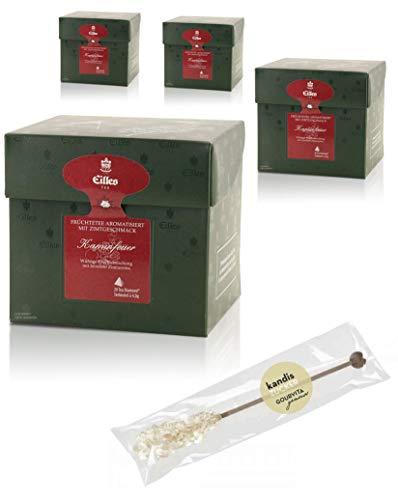 EILLES Tea Diamonds Kaminfeuer Mega-Sparset mit 4 Boxen und gratis Kandisstick von Gourvita Moments