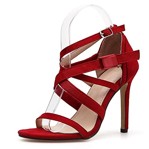 Moreforlove Sandaletten for Frauen Käfig Schuhe 11,5 cm Ferse Stilettos Open Toe Knöchelriemen Criss Cross mit Kunststoffschnalle & Metallknopf Microsuede Elegant (Color : Rot, Size : 39 EU)