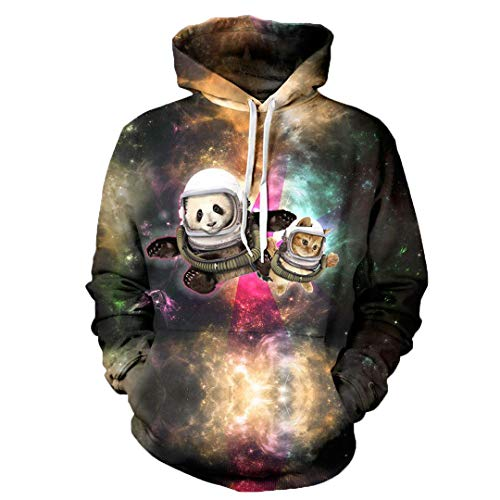 Männer Frauen Herbst Winter 3D Galaxy Sweatshirt Lustige Print Trainingsanzüge Hoodies YXQL015 M (Panda Assassino Halloween)