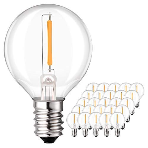 Sunix 1W G40 LED Ersatz Glühlampen, E14 Klarglas Glühlampen 25er Pack, 3000K, 220V-240V, Warmweiß für G40 Lichterketten, Partydekor, Wetterfest -