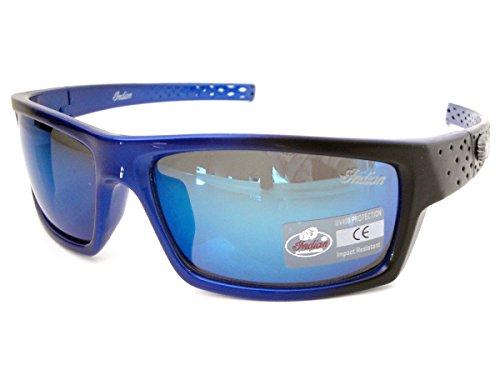 Indian Sonnenbrille Herren Kunststoff Rundumverstärkung schwarz & blau Rahmen quadratisch Revo Blau Objektiv Styling