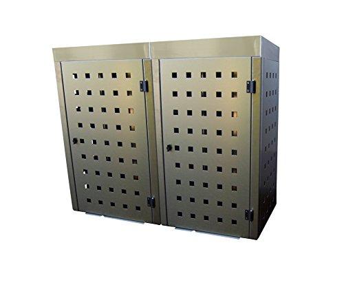 Mülltonnenbox Edelstahl, Modell Eleganza 120 Liter als Zweierbox mit Pflanzwanne