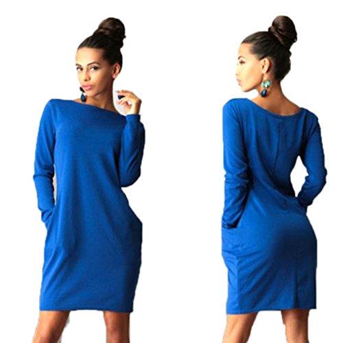 Highdas Inverno Autunno Dress donne dell'annata eleganti vestiti sexy Pockets manica lunga Deep Blue/6860