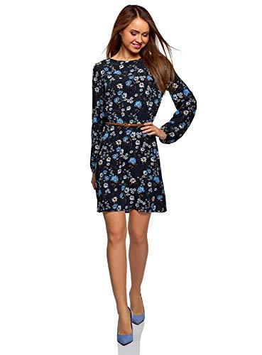 oodji Ultra Damen Viskose-Kleid mit Gürtel, Blau, DE 32 / EU 34 / XXS