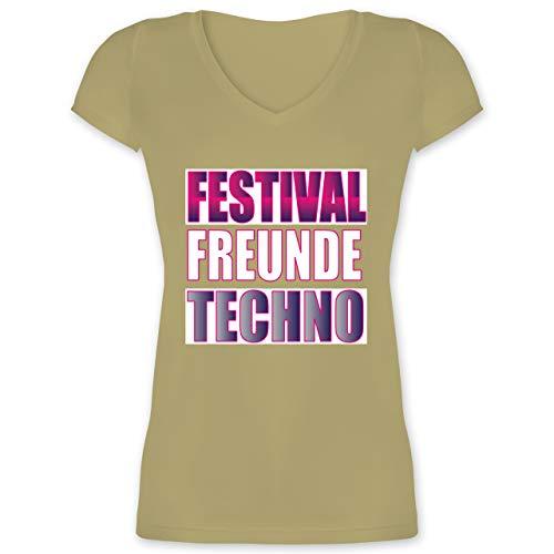 Festival - Festival Freunde Techno weiß - L - Olivgrün - XO1525 - Damen T-Shirt mit V-Ausschnitt - Slim-tee-20 Beutel