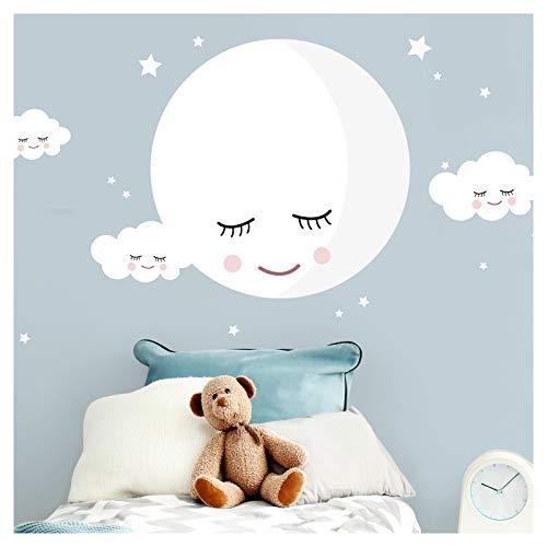 Little Deco Wandaufkleber Kinderzimmer Junge Mädchen Mond & Wolken weiß I M - 69 x 38 cm (BxH) I Wandtattoo Babyzimmer selbstklebend Wandsticker Deko DL245