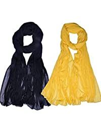 Womens Cottage Combo Pack Of 2 Solid (Plain) Pure Chiffon Dupatta With Pom Pom Laces