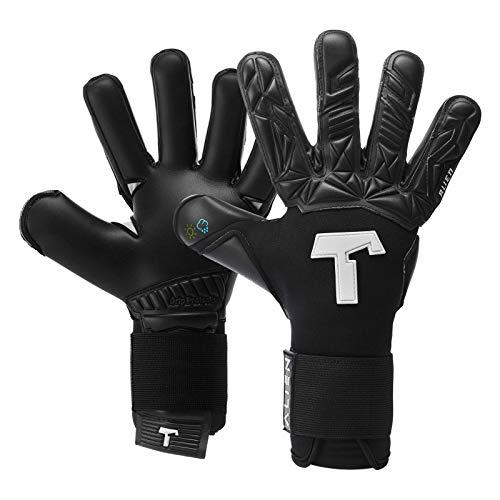 T1TAN Alien Black-Out Torwarthandschuhe für Erwachsene, Fußballhandschuhe Herren Innennaht und 4mm Profi Grip - Gr. 8
