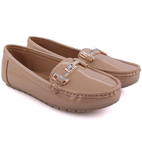 Unze Nuove donne 'Alina' dettaglio in metallo Scuola Lavoro d'ufficio casual mocassino pompe scarpe piane UK Size 3-8 Beige