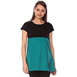 Goldstroms women's Round Neck Maternity/Feeding/Nursing Tshirt/Top/Tee (Large, Sea Green)