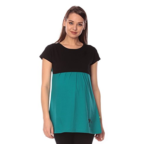 Goldstroms women's Round Neck Maternity/Feeding/Nursing Tshirt/Top/Tee (Medium, Sea Green)
