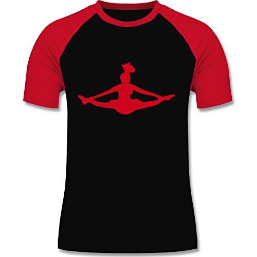 Tanzsport - Cheerleading - zweifarbiges Baseballshirt für Männer Schwarz/Rot