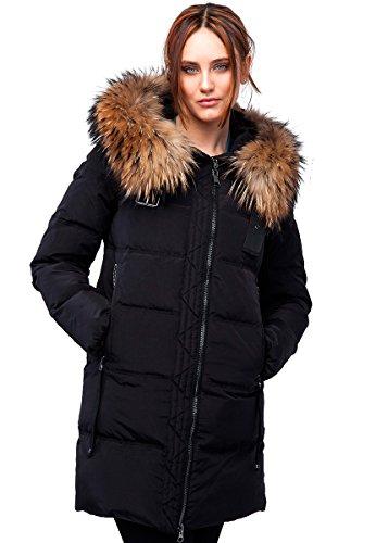 """017CH Damen Winterjacke Mantel in Daunen-Optik """"CLASNA"""" mit Echtfellkapuze (38, schwarz )"""