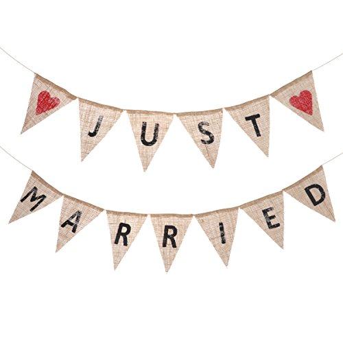Just Married Rustic Banners Tinksky Banner de la boda Banderín Garland Bunting Flag Cloth Shabby Chic Decoración para la fiesta de la boda