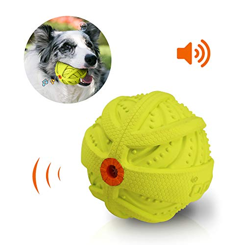 LaRoo Hundespielzeug Ball Squeaker, Hundeball Hundebälle, Spielzeug für Hunde, Spielball für Hunde, Strapazierfähiger Gummiball