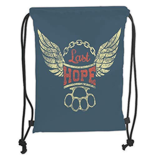Trsdshorts Drawstring Backpacks Bags,Vintage,Grunge Label Wings Chain Brass Knuckles Last Hope Quote for Bikers,Slate Blue Red Light Yellow Soft Satin,5 Liter Capacity,Adjustable String Closu (Slate Light 8)
